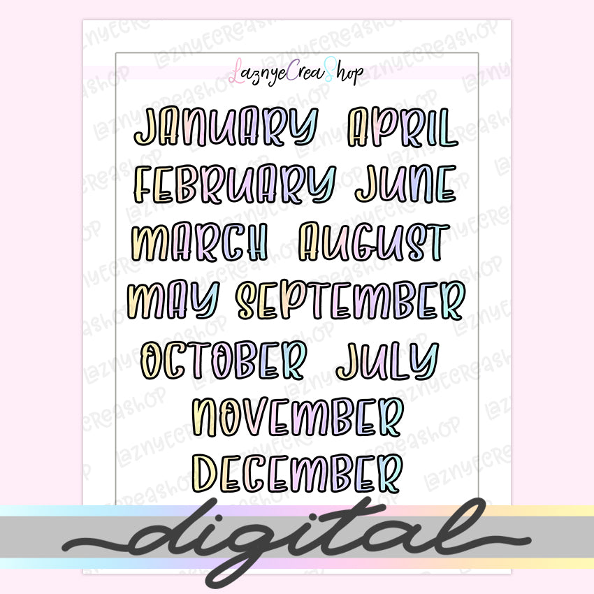 Printable Months Word Script Stickers, Monthly Word Stickers, Functional Stickers, Planner Stickers, Bullet Journal, Digital Stickers