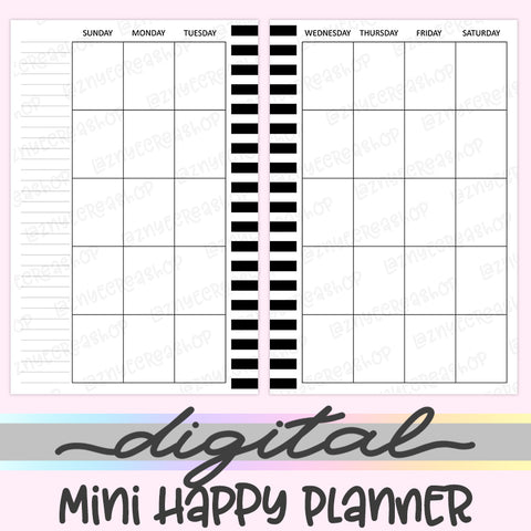 Printable Mini Happy Planner Monthly Inserts, Sunday Start Digital Mini Happy Planner Inserts, HP Inserts, PDF, Digital Download