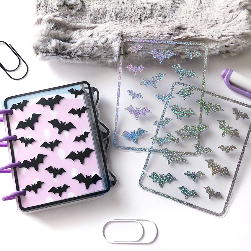 Micro Happy Planner Cover, Halloween, Bat, Spooky, Pastel Goth, Fall, Autumn, Holo Glitter, Dashboard, Vinyl Bookmark, Laminated