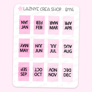 Mini Month Tab Planner Stickers, Pink Planner Tabs, Hobonichi Tab Stickers, PP Weeks Tabs Stickers, Cute Planner Stickers, Planner Stickers