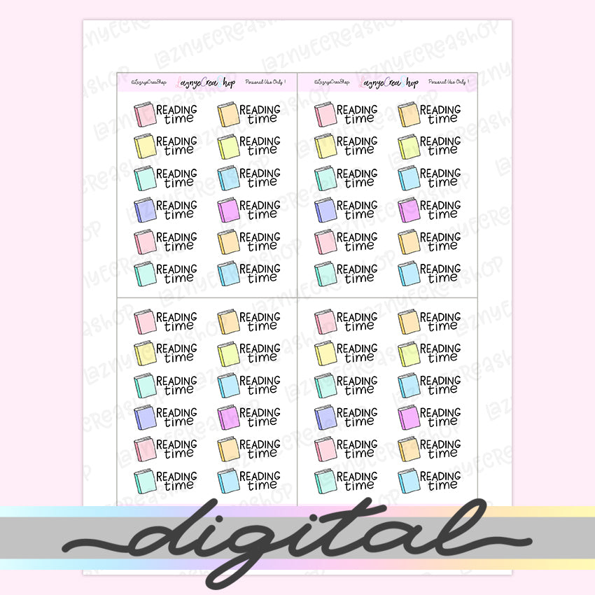 Printable Reading Time Stickers, Book Stickers, Read Stickers, Rainbow, Pastel, Bullet Journal Stickers, Functional Stickers, Kawaii, Cute