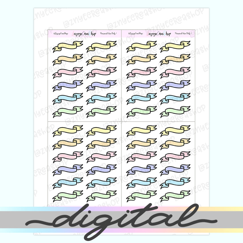 Printable Ribbon Banner Planner Stickers, Hand Draw, Doodle, Flag Stickers, Erin Condren, Functional Stickers Bullet Journal, PDF, Cut File