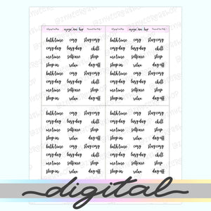 Printable Selfcare Word Script Stickers, Cozy, Lazy Day, Day Off, Me Time, Chill, Relax, Sleep, Functional, Planner Stickers, Bullet Journal