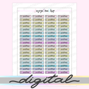 Printable Shopping Checklist Stickers, To Do Heart Rainbow Pastel Erin Condren, Functional, Boxes, Happy Planner, Planner, Bullet Journal