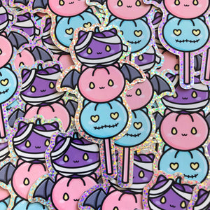Halloween Glitter Vinyl Stickers, Spooky, Holographic Vinyl Stickers, Weatherproof Vinyl Stickers, Kawaii Stickers, Doodle Planner Diecut