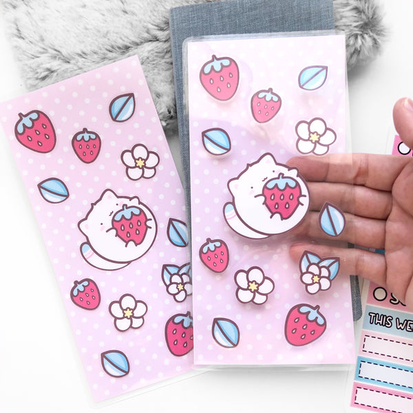 Strawberry Cat Sticker Pocket #L011