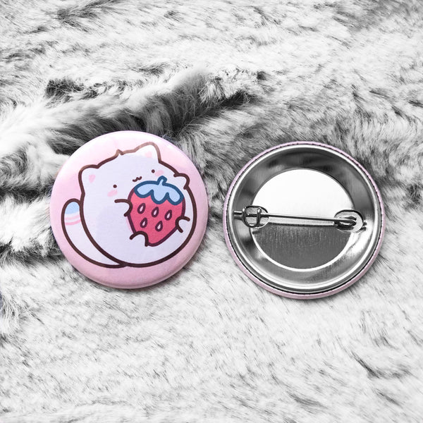 Strawberry Cat Button Badge #X006