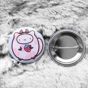 Strawberry Cow Button Badge #X007