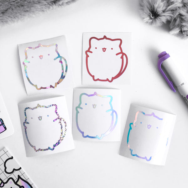 Yume The Cat Vinyl Decal, Rose Gold, Opale vinyl decal, Holo Vinyl Decal, Planner Vinyl Stickers, Holo Silver Vinyl Decal, Holographic Glitter Stickers