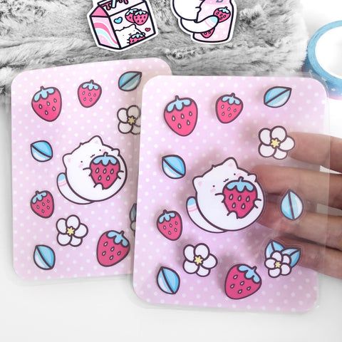 Strawberry Cat Sticker Pocket, Strawberry Cow, Strawberry Milk, Laminated Planner Pouch, Laminated Planner Pocket,  Sticker Stach, Kawaii Paper Pocket