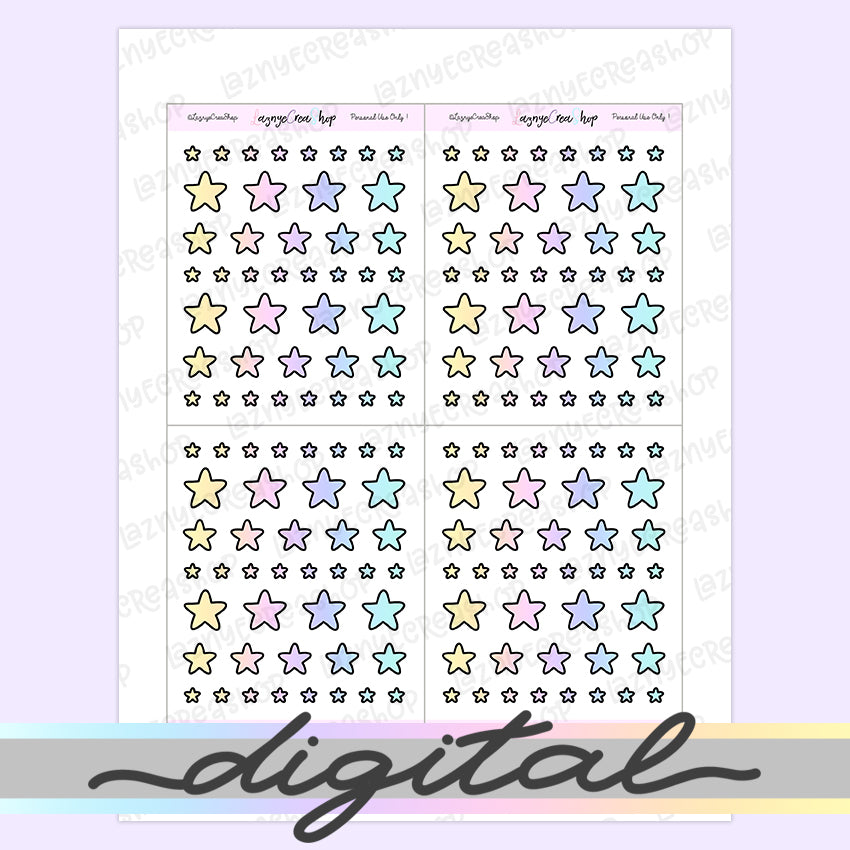Printable Tiny Star Stickers, Rainbow Stickers, Coding Stickers, Code, Pastel, Erin Condren, Functional, Happy Planner, Bullet Journal