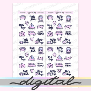 Printable Travel Stickers, Holidays, Vacation, Hand Draw Stickers, Doodle Stickers, Bullet Journal Stickers Functional Stickers Kawaii Cute