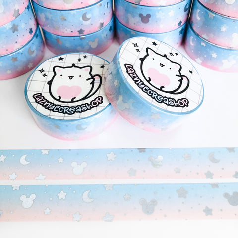 Magical Space Silver Foil Washi Tape, Planner Washi Tapes, Washi Tape Rolls, Pastel, Cute Washi, Planner Accessories