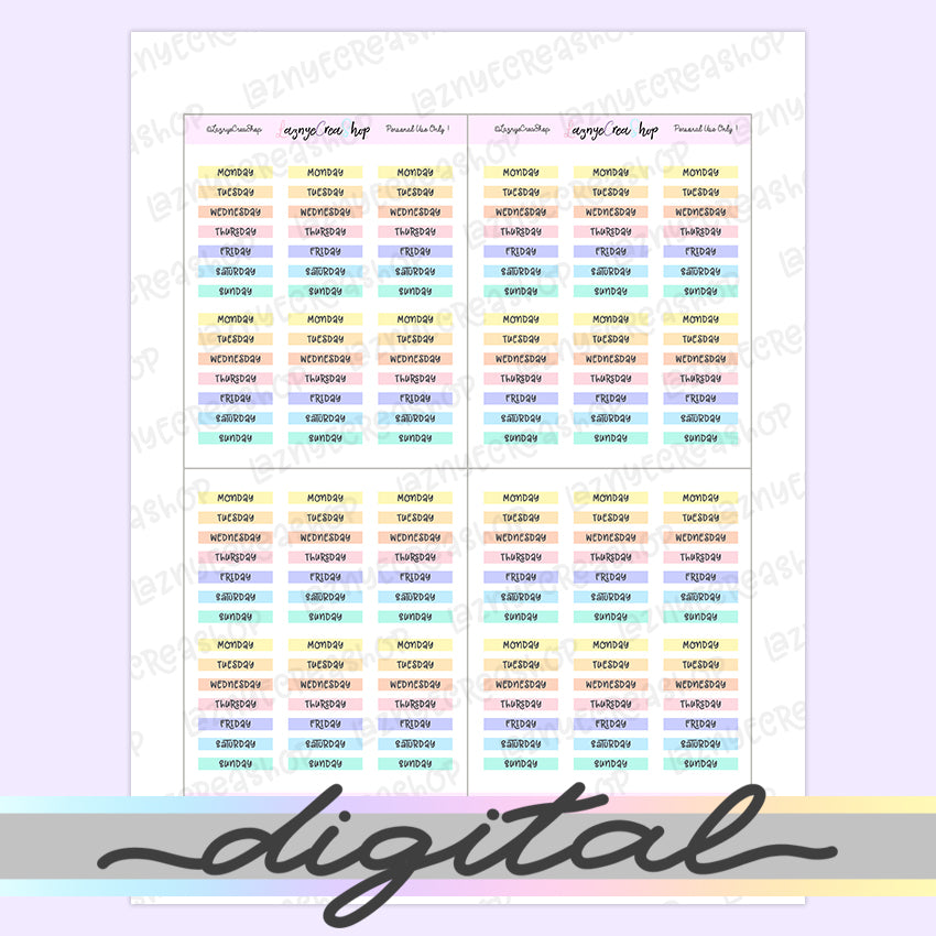 Printable Hobonichi Weekday Word Stickers, Day of the Week, Rainbow, Pastel Colors, Functional, Planner Stickers, Bullet Journal Stickers