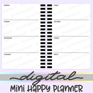 Printable Mini Happy Planner Weekly Inserts, Weekly Digital Mini Happy Planner Inserts, HP Inserts, PDF, Digital Download