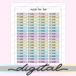 Printable Work Checklist Stickers, To Do Heart Rainbow Pastel Erin Condren, Functional, Boxes, Happy Planner, Planner, Bullet Journal