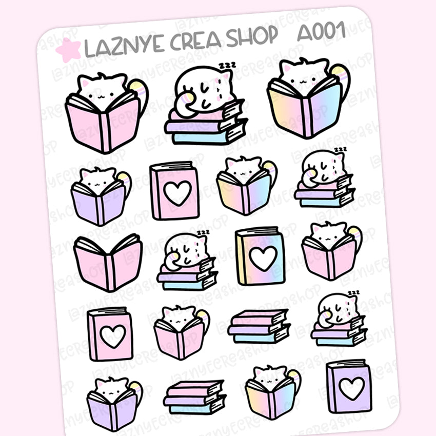 Yume the Cat Reading Stickers, Book, Reading Time, Read, Rainbow Stickers, Pastel Stickers, Functional Stickers, Planner Stickers, Bullet Journal Stickers, Hand Draw Stickers, Doodle Stickers