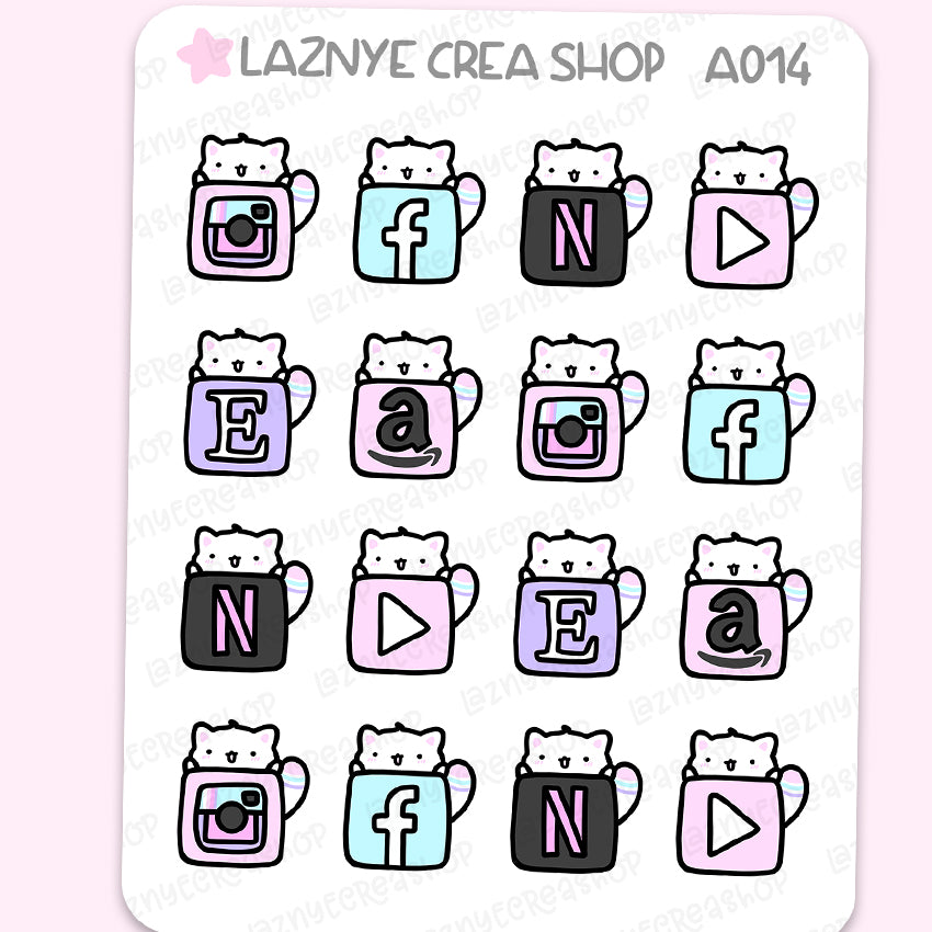 Social Icon Cat Stickers, Social Media, Pastel Stickers, Functional Stickers, Planner Stickers, Bullet Journal Stickers, Hand Draw Stickers, Doodle Stickers