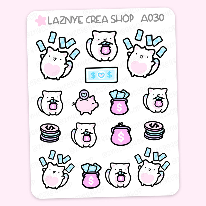 Pay Day Cat Stickers, Money, Dollar, Saving, Cute Planner Stickers, Box Stickers, Planner Stickers, Bullet Journal Stickers, Hand Draw Stickers, Doodle Stickers