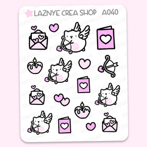 Valentine's Day Cat Stickers, Love, Cupid, Heart, Pink, Cute Planner Stickers, Planner Stickers, Bullet Journal Stickers, Hand Draw Stickers, Doodle Stickers