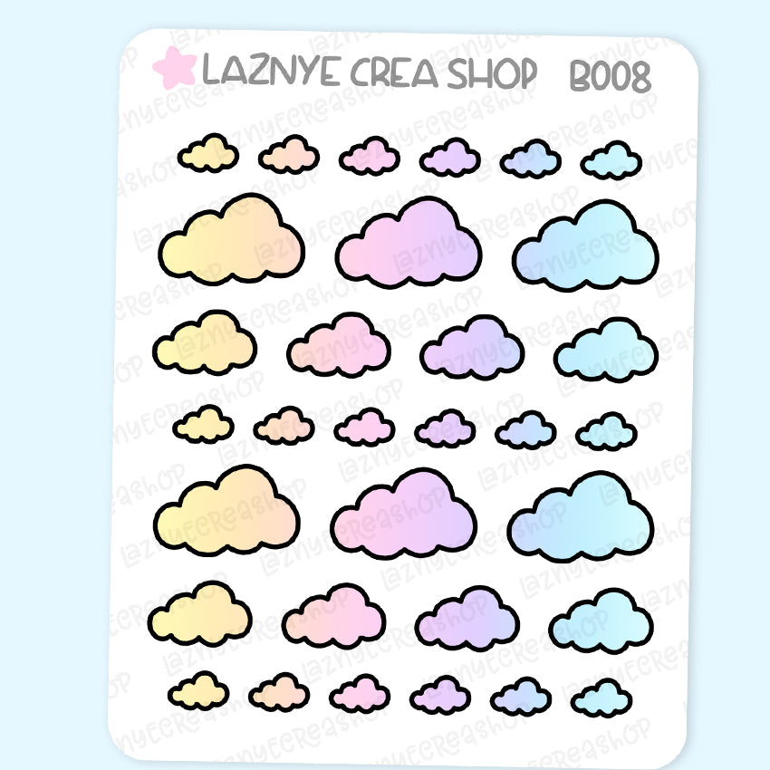 Cloud Stickers, Rainbow Stickers, Coding Stickers, Code Stickers, Pastel Stickers, Functional Stickers, Planner Stickers, Bullet Journal Stickers, Hand Draw Stickers, Doodle Stickers