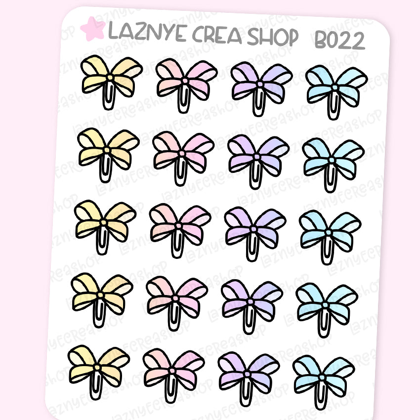 Bow Stickers, Bow Paper Clip, Rainbow Stickers, Pastel Stickers, Functional Stickers, Planner Stickers, Bullet Journal Stickers, Hand Draw Stickers, Doodle Stickers