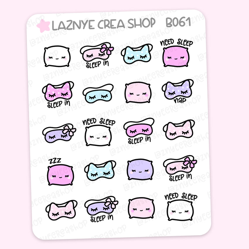 Need Sleep Stickers, Nap Stickers, Silk Eye Mask, ZZZ, Sleep, Pillow, Pastel Planner Stickers, Planner Stickers, Bullet Journal Stickers, Hand Draw, Doodle