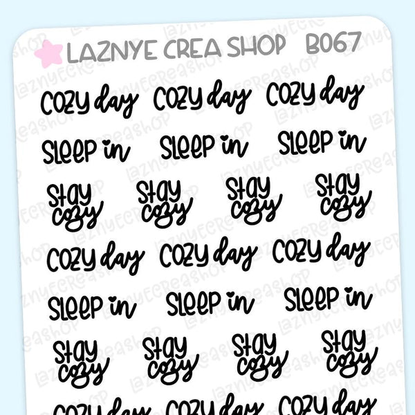 Cozy Word Planner Stickers, Cozy Day Stickers, Sleep In Stickers, Stay Cozy Stickers, Scrip Words, Lettering Planner Stickers, Font Stickers, Handwritting Planner Stickers, Bullet Journal Stickers