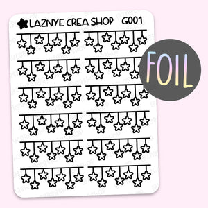 Star Banner Foil Planner Stickers, Holographic Foil Stickers, Gold Foil Stickers, Silver Foil Stickers, Rose Gold Foil Stickers, Ribbon Stickers