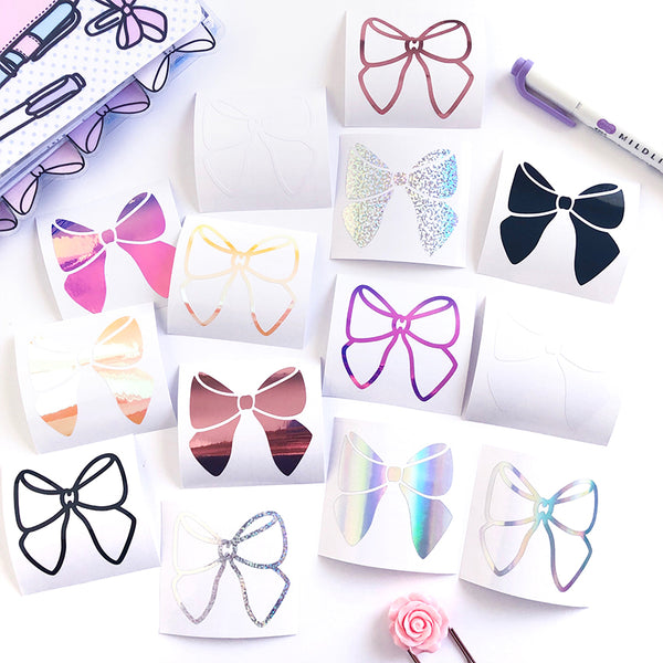Bow Vinyl Decal, Planner Vinyl Stickers, Bow Paper Clip, Planner Vinyl Decal, Paper Clip Vinyl Decal, Rose Gold Vinyl Decal, Holo Silver Vinyl Decal, Holo Glitter Stickers