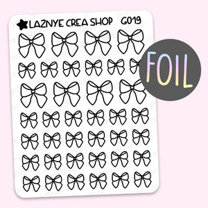 Bow Foil Planner Stickers, Holographic Foil Stickers, Gold Foil Stickers, Silver Foil Stickers, Rose Gold Foil Stickers