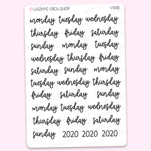 Bullet Journal Days Script Stickers, Bujo Calendar 2020 Stickers, Monthly Stickers, Scrip Words Stickers, Lettering Planner Stickers, Font Stickers, Handwritting Planner Stickers, Journaling Stickers, Bullet Journal Stickers