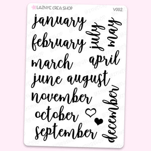 Bullet Journal Months Script Stickers, Bujo Calendar 2020 Stickers, Monthly Stickers, Scrip Words Stickers, Lettering Planner Stickers, Font Stickers, Handwritting Planner Stickers, Journaling Stickers, Bullet Journal Stickers