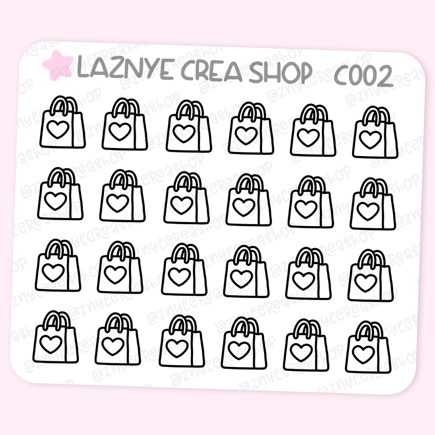 Shopping Bag Stickers Mini Sheet, Functional Stickers, Planner Stickers, Bullet Journal Stickers, Hand Draw Stickers, Doodle Stickers