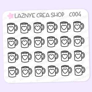 Coffee Stickers Mini Sheet, Coffee Cup, Writing, Functional Stickers, Planner Stickers, Bullet Journal Stickers, Hand Draw Stickers, Doodle