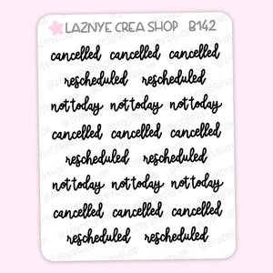 Cancelled Script Planner Stickers, Rescheduled, Not Today Planner Stickers, Scrip Words, Lettering Planner Stickers, Font Stickers, Handwritting Planner Stickers, Bullet Journal Stickers