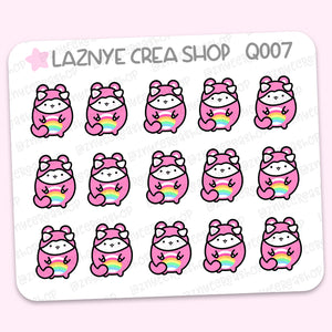 Care Bear Onesie Mini Stickers, Cat Stickers, Mini Sheet, 2$ stickers, Yume the Cat, Pastel Stickers, Planner Stickers, Bullet Journal Stickers, Hand Draw, Doodle