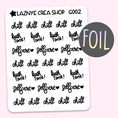 Selfcare Word Foil Planner Stickers, Chill Stickers, Bath Time Stickers, Scrip Words, Lettering Planner Stickers, Font Stickers, Holographic Foil Stickers, Gold Foil Stickers, Silver Foil Stickers, Rose Gold Foil Stickers