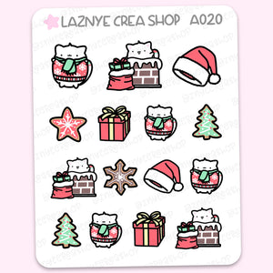 Christmas Cat Stickers, Christmas Tree, Functional Stickers, Planner Stickers, Bullet Journal Stickers, Hand Draw Stickers, Doodle Stickers