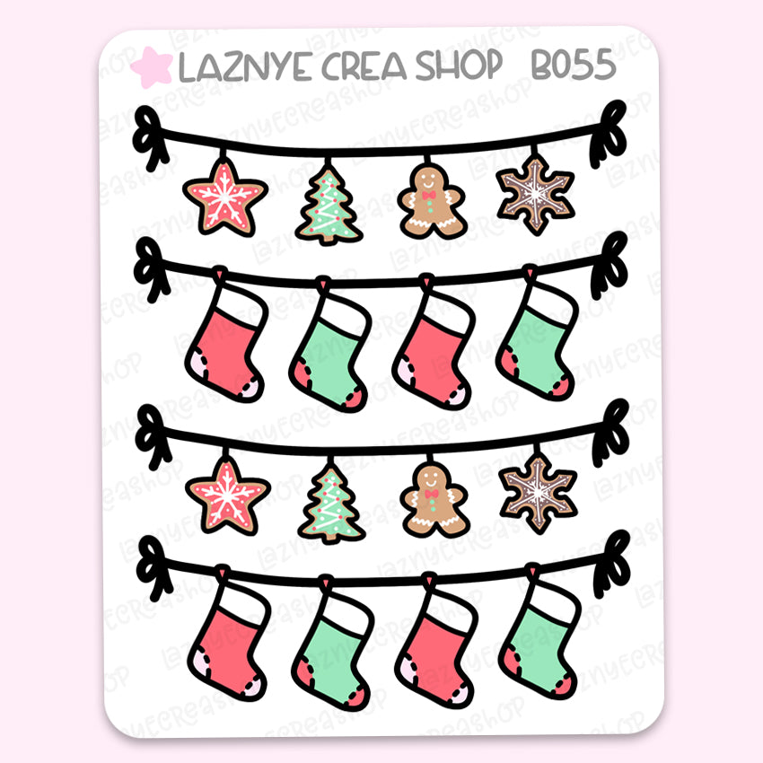 Banner Christmas Stickers, Functional Stickers, Planner Stickers, Bullet Journal Stickers, Hand Draw Stickers, Doodle Stickers