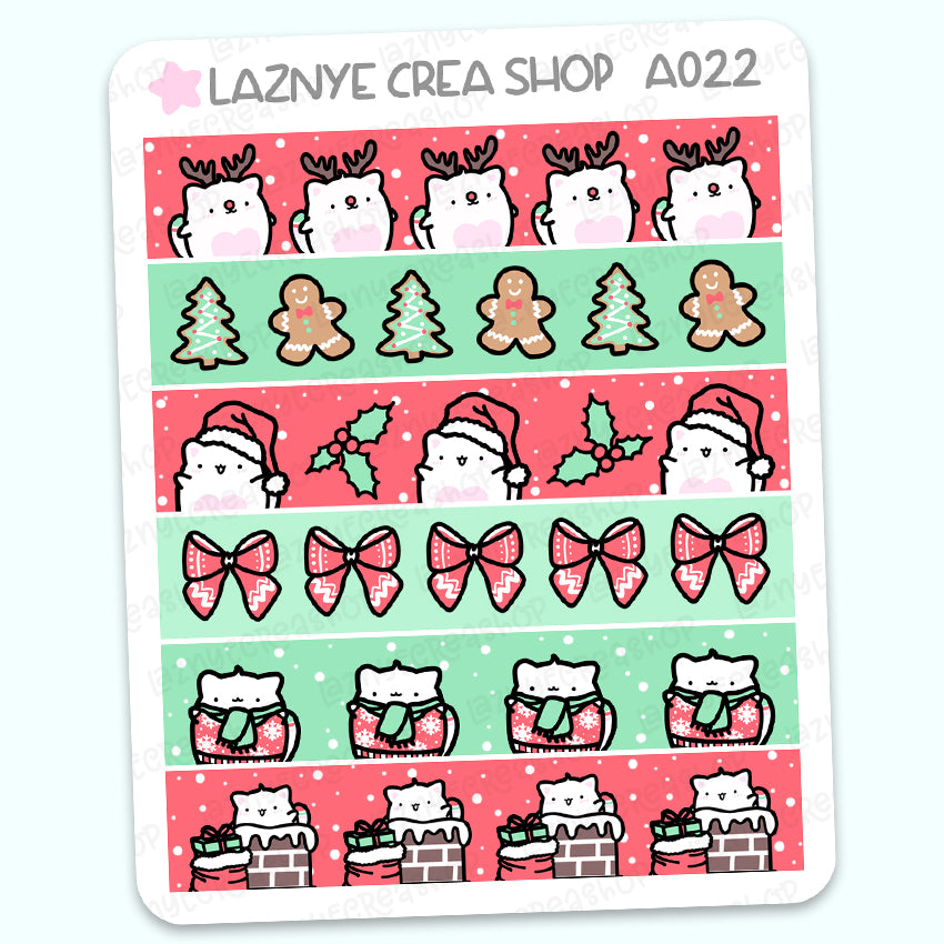 Washi Christmas Cat Stickers, Functional Stickers, Planner Stickers, Bullet Journal Stickers, Hand Draw Stickers, Doodle Stickers
