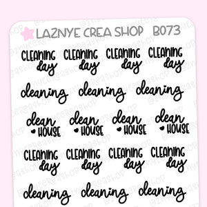 Cleaning Script Planner Stickers, Cleaning Day Stickers, Clean House Stickers, Scrip Words, Lettering Planner Stickers, Font Stickers, Handwritting Planner Stickers, Bullet Journal Stickers