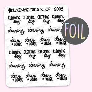 Cleaning Script Foil Planner Stickers, Cleaning Day Stickers, Clean House Stickers, Font, Holographic Foil Stickers, Gold Foil Stickers, Silver Foil Stickers, Rose Gold Foil Stickers