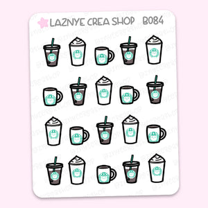 Coffee Stickers, Coffee Cup, Coffee Addict Stickers, Functional Stickers, Planner Stickers, Bullet Journal Stickers, Hand Draw Stickers, Doodle Stickers