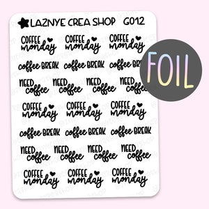 Coffee Script Foil Planner Stickers, Coffee Monday Stickers, Need Coffee Stickers, Font, Holographic Foil Stickers, Gold Foil Stickers, Silver Foil Stickers, Rose Gold Foil Stickers