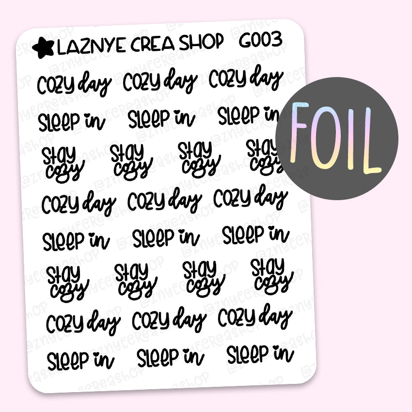 Cozy Word Foil Planner Stickers, Cozy Day Stickers, Sleep In Stickers, Stay Cozy Stickers, Scrip Words, Lettering Planner Stickers, Font Stickers, Holographic Foil Stickers, Gold Foil Stickers, Silver Foil Stickers, Rose Gold Foil Stickers