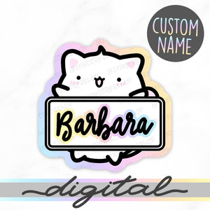 Custom Name Diecut, Yume the Cat, Rainbow, Pastel, Custom digital, Cute Diecut, Kawaii Diecut, Doodle Planner Diecut, Kawaii Doodle