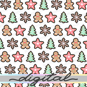 Printable Christmas Digital Planner Paper, Gingerbread, Christmas, Paper Vellum, Doodle, Hand Draw, Cute, Bullet Journal, TN Vellum, JPG, PDF, Download