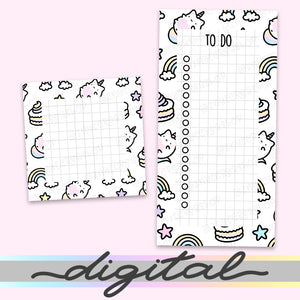 Printable Unicorn Notepads, Notes, To do list, Planner Diecut, Unicorn Cat Rainbow Pastel, Cute Clipart, Insert, Planner Diecut, Bullet Journal