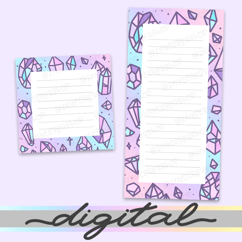 Printable Crystal Notepads, Notes, To do list, Planner Diecut, Gems, Minerals, Stones, Diamonds, Cute Clipart, Insert, Planner Diecut, Bullet Journal